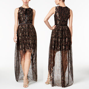 Adrianna Papell metallic lace high low dress